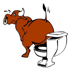 Cartoon of Bull on a Toilet