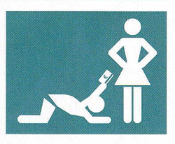 blue background whit fingure of man on knees giving standing wife money