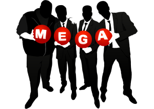 siloeete of 4 men in suits holding a letter each spelling mega