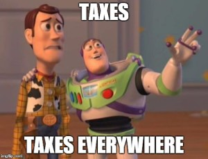 buzz lightyear and Woody text reads taxes taxes everywhere
