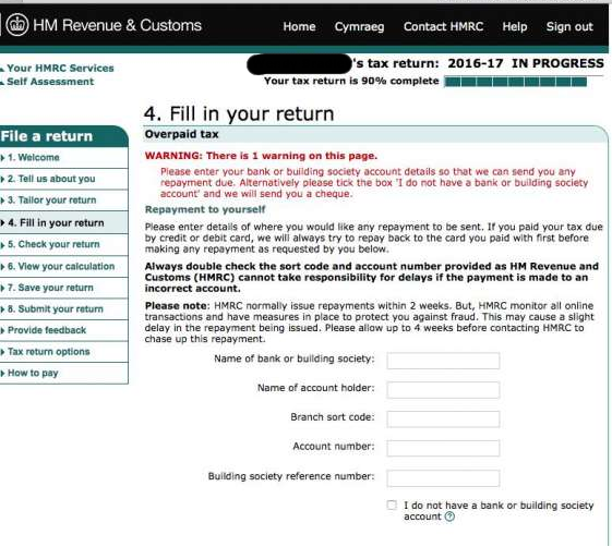 Redacted Tax Return Warning