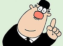 image of the HMRC taxman logo with his left hand raised and his index finger pointing upwards