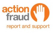 Logo of Action Fraud text in orange reads action fraud (in grey) report and support with a white hand in an orange circle