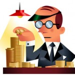 cartoon in a 1930s style of an a man with a bald head and green visor and glasses counting money