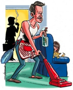 Cartoon of a man hvacuuming with a spray in his hand with a silhouette of a woman having a cup of tea