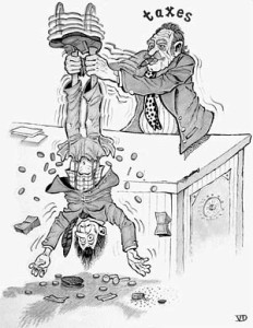 black_and_white_cartoon_of_ a_taxman_holding_another_man_by_the_ankles_shaking_money_out_of_him