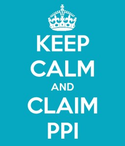 Blue background white lettering reads keep calm and claim ppi and then make sure you pay tax on it