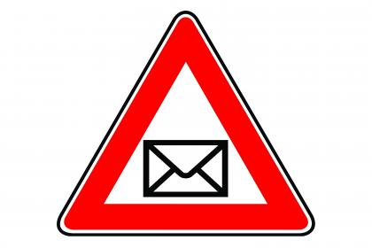 Warning Trinange with a email logo in the midle phishing scam warning