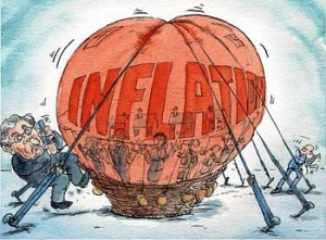 hot air baloon with the words inflation written being held down by ropes with former BofE Chairman Mervyn King tightening ropes