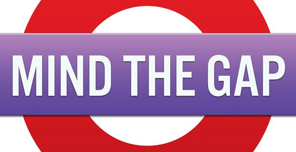 mind-the-gap-text on a London underdround symbol