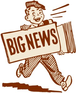 Cartoon newsboy with a sign saying big news