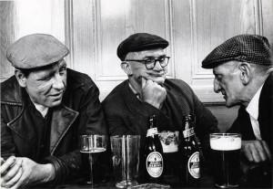 b&W three old men in a pub