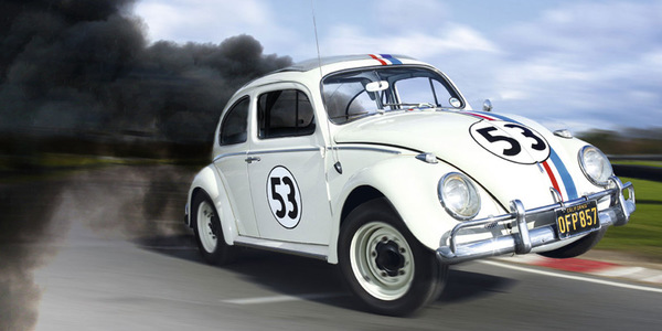 Herbie VW Beetle with exaggerated black exhaust trail
