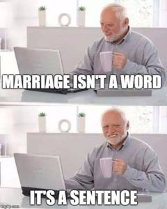 Hide the Pain Harold Text reads marriage isn't a word it's a sentence