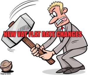 cartoon of a man using a sledgehammer to crack a nut text new vat flat rate changes