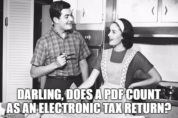 husband and wife meme Darling, does a Pdf count as an electronic tax return?