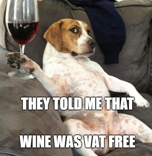 VAT free wine Dog