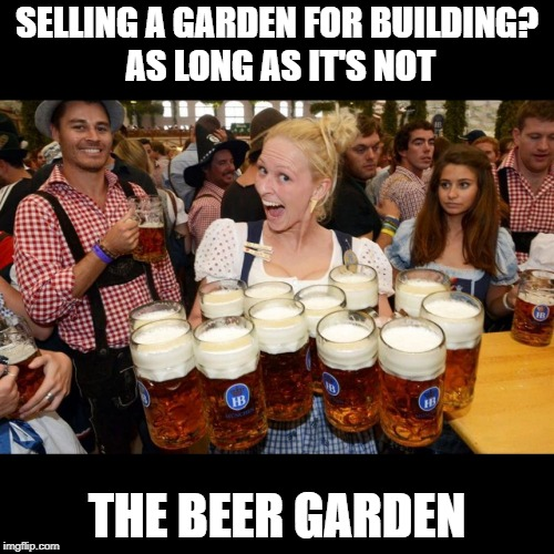 Stamp Duty Land Tax barmaid in a beergarden