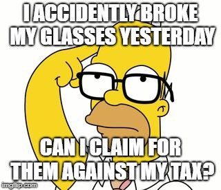 Tax claim against new glasses
