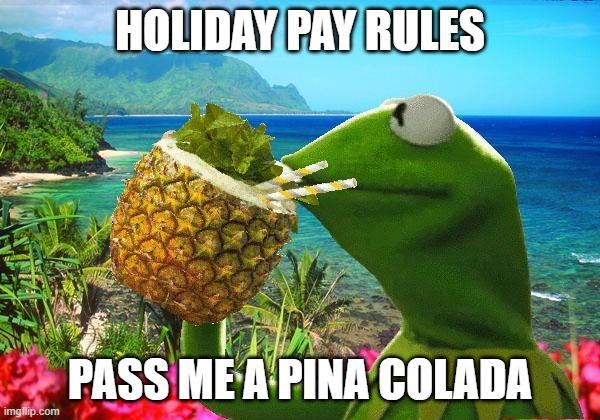 Kermit frog drinking pina colada