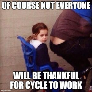 childback of bike with fathers bumm cleavage on display Of course not everyone