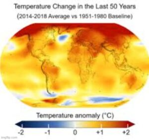 Temperature change in las 50 years