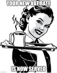 Cartoon Waitress serving coffee Your new VAT rate Is now served